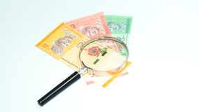 Magnifier with Malaysia bank notes.concept photo. Royalty Free Stock Photography