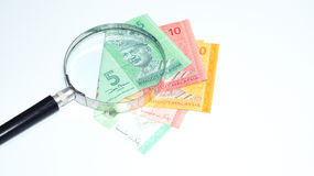 Magnifier with Malaysia bank notes.concept photo. Magnifier with Malaysia bank notes Royalty Free Stock Photography