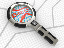 Magnifier on a map Royalty Free Stock Images