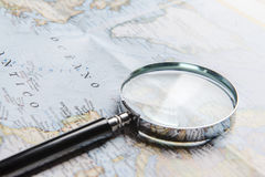 Magnifier on map Royalty Free Stock Photography