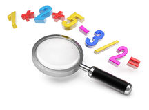 Magnifier and mathematical formula Royalty Free Stock Photo