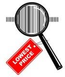 Magnifier met etiket royalty-vrije illustratie