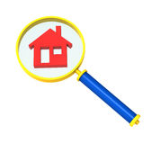 Magnifier met huispictogram dat op wit wordt geïsoleerd. stock illustratie