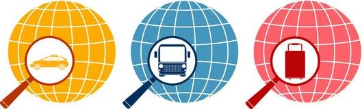 Magnifier met zak, taxi en bus op planeet Royalty-vrije Stock Foto