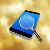 Magnifier  with Mobile Phone,cell phone illustration Royalty Free Stock Photography