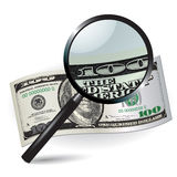 Magnifier and money Stock Photography