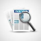 Magnifier and newspaper. Vector illustration Stock Photo