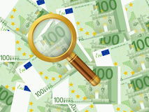 Magnifier on one hundred euro background. Magnifying glass on one hundred euro background Royalty Free Stock Photo