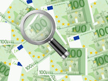 Magnifier on one hundred euro background. Magnifying glass on one hundred euro background Royalty Free Stock Image