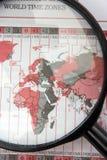 Magnifier op wereldkaart Royalty-vrije Stock Afbeelding