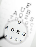 Magnifier over eye chart Stock Images