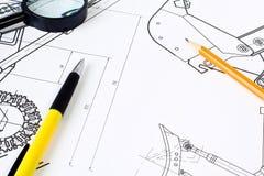 Magnifier over het ontwerp Stock Afbeeldingen