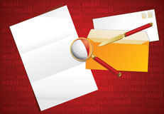 Magnifier, paper knife and layout letter. Royalty Free Stock Images