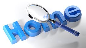 Magnifier on Home - 3D rendering. A magnifier is passing over the word HOME written with blue 3D letters laying on a white surface - 3D rendering Royalty Free Stock Photos