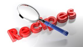 Magnifier on red Recipes - 3D rendering Stock Image