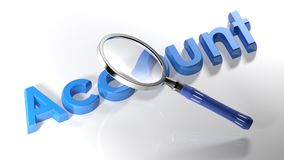Magnifier on blue Account - 3D rendering royalty free illustration