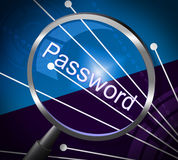 Magnifier Password Shows Log In And Accessible Stock Photography