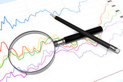 Magnifier with pencil and diagram. Magnifying glass with pencil over business diagram extreme closeup Stock Photography