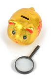 Magnifier and piggy bank Royalty Free Stock Images