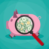 Magnifier on a pink piggy bank and see money cash dollars gold coins, vector illustration in flat design green Stock Photography