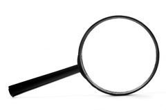 Magnifier preto imagens de stock