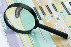 Magnifier and print Stock Photos