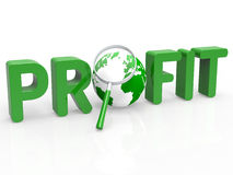 Magnifier Profit Means Profits Search And Profitable Royalty Free Stock Image