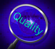 Magnifier Quality Indicates Searches Research And Certified. Quality Magnifier Showing Research Magnification And Check Stock Photography