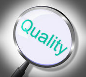 Magnifier Quality Means Approval Check And Satisfaction Royalty Free Stock Image