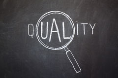 Magnifier and 'Quality' word Stock Photos