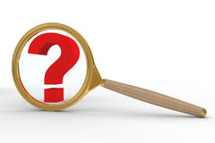 Magnifier and question on white background Stock Photo