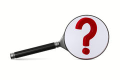 Magnifier and question on white background Royalty Free Stock Photography