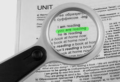 Magnifier for reading Stock Photo