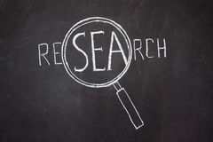 Magnifier and 'Research' word Royalty Free Stock Photography