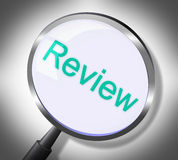 Magnifier Review Indicates Searches Evaluate And Evaluation. Review Magnifier Meaning Reviewing Magnification And Searching stock illustration
