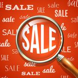 Magnifier and sale. Signs red background retail discount special offer concept vector illustration royalty free illustration
