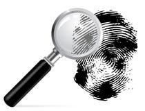 Magnifier with scaned fingerprint Stock Image