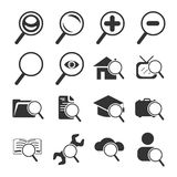 Magnifier and Search Icon Set. Magnifier and Search Sign and Symbol Icon Set Stock Photos