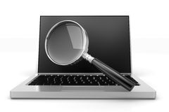 Magnifier Search  In Laptop Stock Image