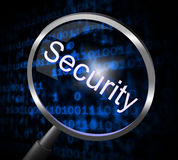 Magnifier Security Represents Magnifying Encrypt And Research Royalty Free Stock Image