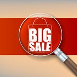 Magnifier, selling banner. Royalty Free Stock Photos