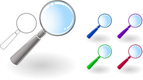 Magnifier set Royalty Free Stock Image