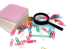 Magnifier, Still-life, Office, Paper, Paper clip. Stock Photography