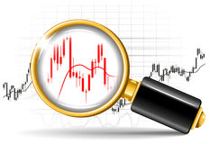 Magnifier and stock chart Royalty Free Stock Images