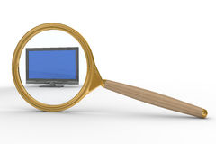 Magnifier and TV on white background Stock Photo
