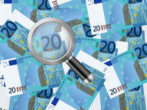 Magnifier on twenty euro background Royalty Free Stock Images