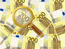 Magnifier on two hundred euro background. Magnifying glass on two hundred euro background royalty free illustration