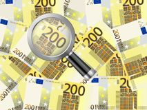 Magnifier on two hundred euro background. Magnifying glass on two hundred euro background vector illustration
