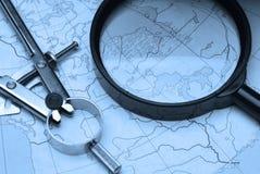 Magnifier, verdeelt en brengt in kaart Royalty-vrije Stock Foto