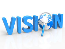 Magnifier Vision Shows Missions Plan And Target Stock Image